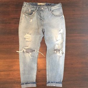 Zara studded baggy destroyed jeans